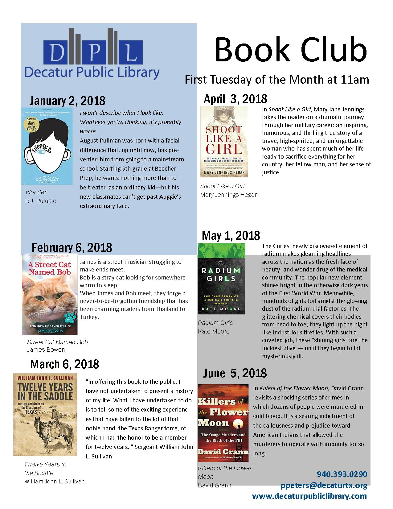 Book Club Schedule Jan 2018 to jun 2018