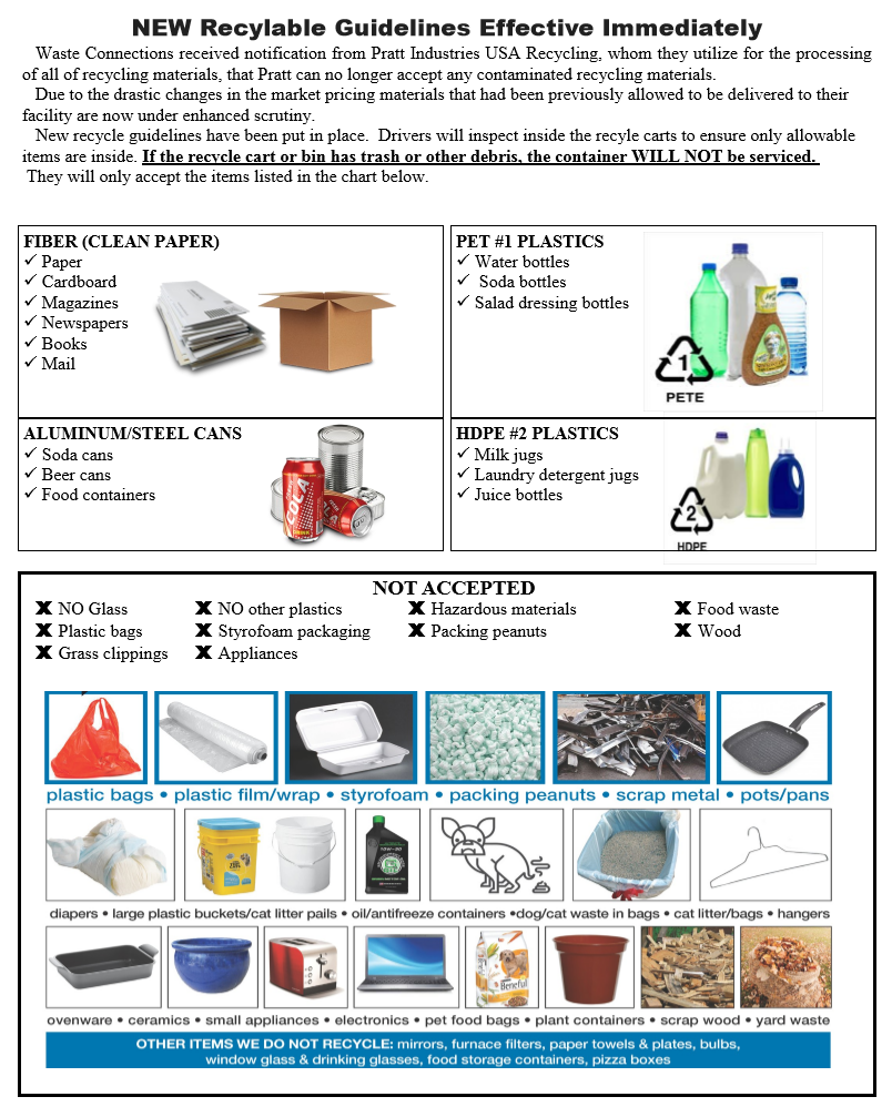 What is authorized to be in recycle bins, and what is not authorized.